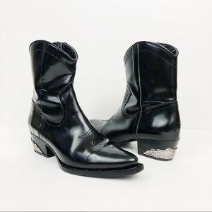 Zara Patent Leather Cowboy Western Metal Heel Boot